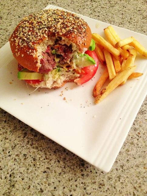 Garden burger with green goddess dressing