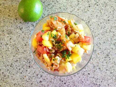Honey lime vinaigrette farro salad