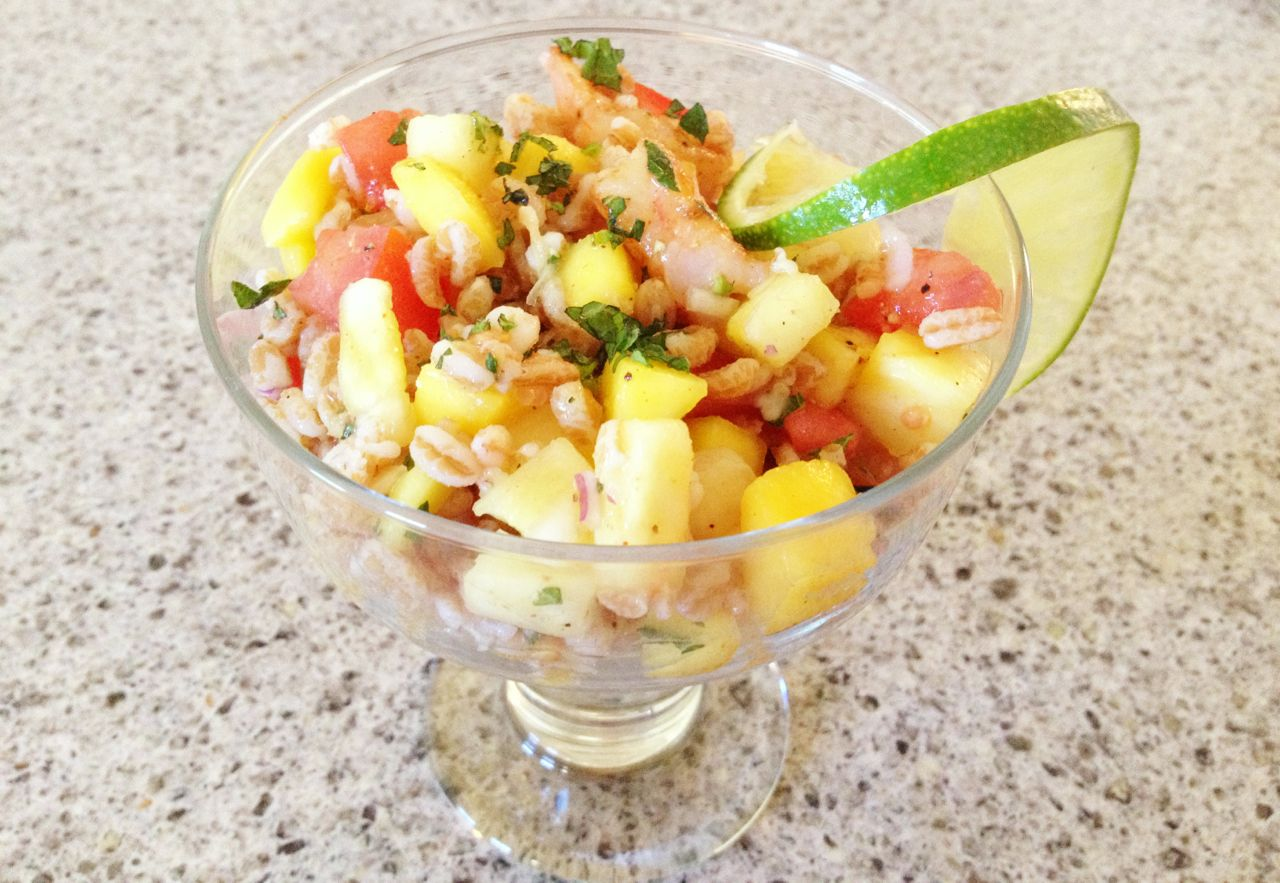 Tropical farro shrimp salad