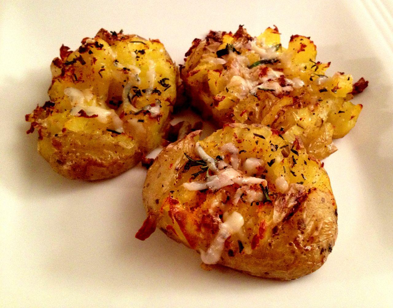 Smashed roasted potatoes with rosemary
