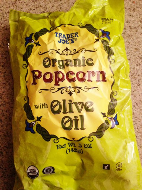 Trader Joe's Popcorn with olive oil