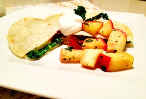 Apple Kale Gouda Quesadilla Recipe